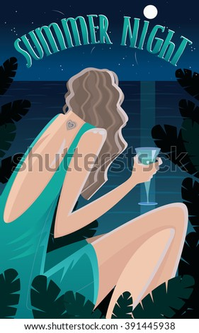 View from the back on girl sitting in jungle by the ocean and drinking cocktail at night - Summer Time concept and lettering. Vector illustration - stock vector
