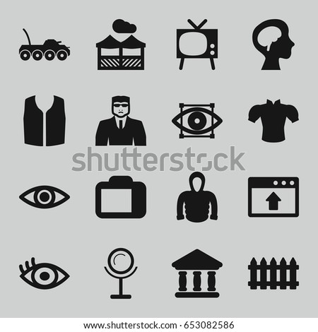 view icons set set 16 view stock vector 653082586 shutterstock rh shutterstock com Rustic Fence Vector Rustic Fence Vector