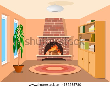 View in room with fireplace - stock vector