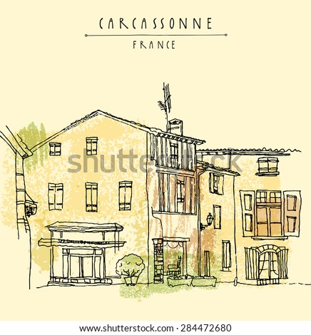 View of a cafe in old town center of Carcassonne, France. Historical building line art. Freehand drawing with liner pen on paper in vector. Quick travel sketch with hand lettering. Postcard template