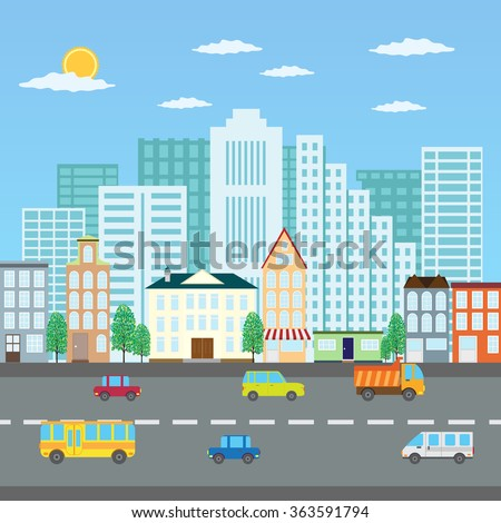 View of a city in the summer and road with cars - stock vector
