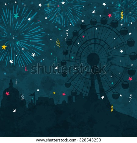View of a fair with silhouette of temple and ferris wheel on firecrackers decorated grungy blue background for Indian Festival of Lights, Happy Diwali celebration. - stock vector