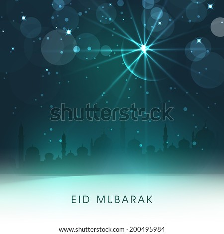 View of a mosque in light of crescent moon and star, holy night for muslim community festival Eid Mubarak.  - stock vector