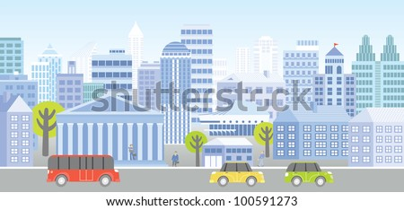 View of a street with people, trees, houses and vehicles.