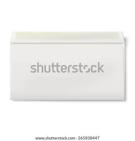 View of backside of opened DL envelope isolated on white background