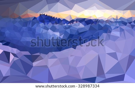 View of blue mountains easy all editable - stock vector