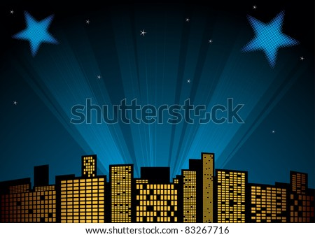 View of city at night with spotlights in background - stock vector