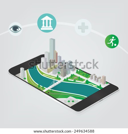 View of downtown on smart phone screen in 3D. City application vector concept. - stock vector