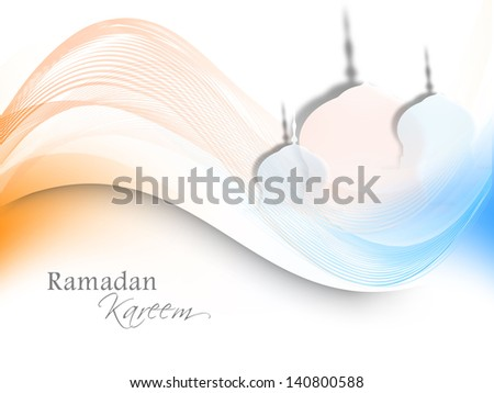 View of Mosque on colorful waves background for Ramadan Kareem. - stock vector