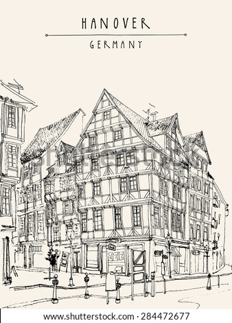 View of old center in Hanover, Germany. Historical building line art. Monochrome freehand drawing. Travel sketch with Hannover hand lettering. Vertical vector postcard design template