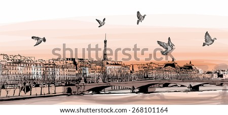 """View of Paris from """"Pont des arts"""" - Vector illustration - stock vector"""