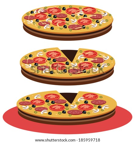 view of  pizza isolated on white - stock vector