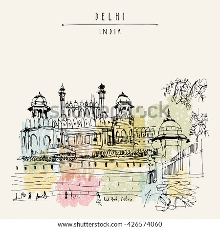View of Red Fort in Delhi, India. Vintage hand drawn postcard template. Vector illustration - stock vector