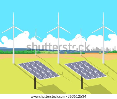 View of solar panels and wind turbines standing in a field against the sky and the city on the horizon. Vector illustration - stock vector