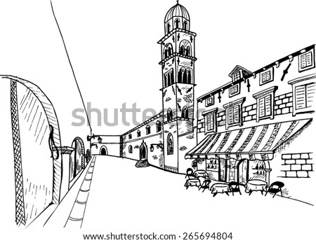 View of Stradun street in old Dubrovnik. Croatia. Black and white vector sketch.