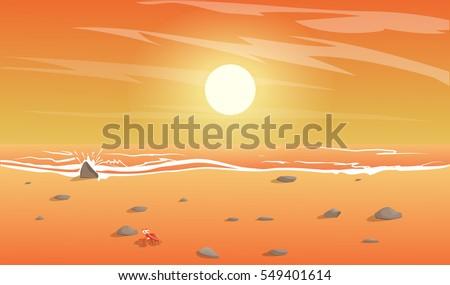 View Of The Beach Sunset On IslandCartoon Vector Illustration