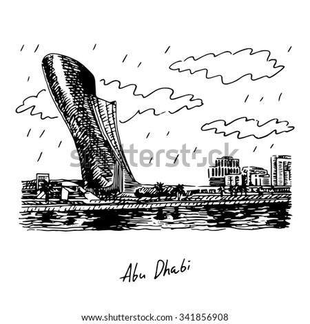 View of the Capital Gate Tower in Abu Dhabi, UAE. Vector hand drawn sketch - stock vector