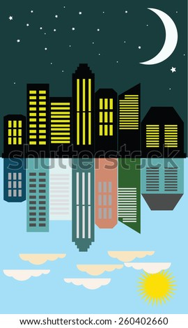View of the city day and night in the flat style, vector illustration - stock vector