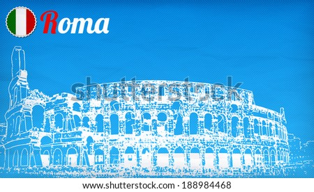 view of the Colosseum Amphitheater in Rome against blue sky background.