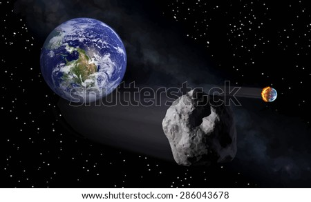 View of the earth from space with fire vector illustration.Elements of this vector furnished by NASA - stock vector