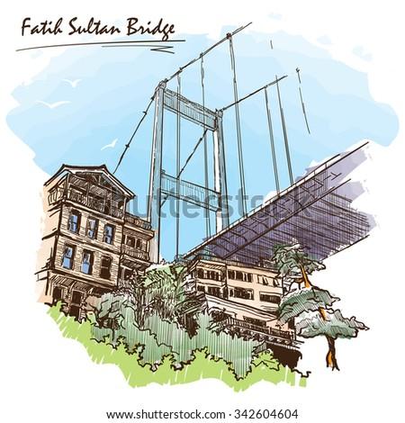 View of the Fatih Sultan Mehmet suspension bridge spanning Bosphorus straight in Istanbul. Painted sketch. EPS10 vector illustration. - stock vector
