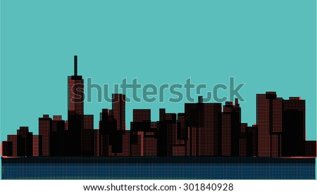 View of the Manhattan in the pop art style. New York - stock vector