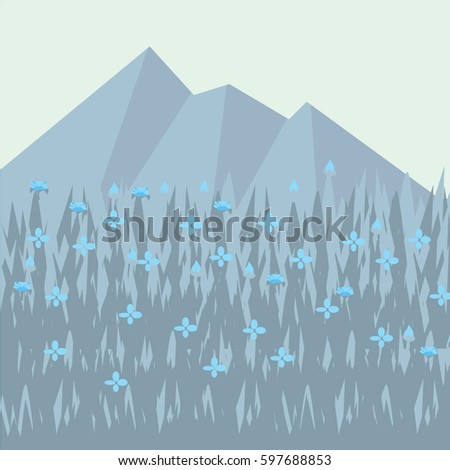 view of the meadows in the day, flat design paper design