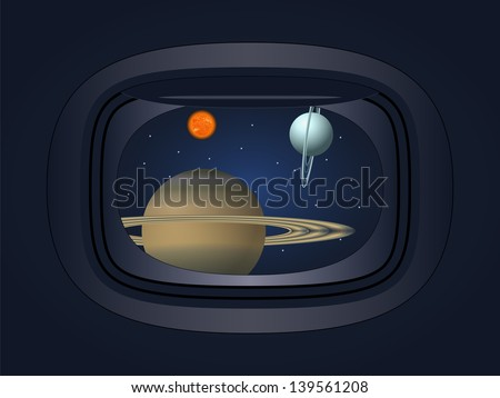 view of the planet through the window spacecraft - stock vector
