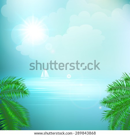 View of tropical sea between the palm trees under blue sky. Vector illustration. EPS 10 - stock vector