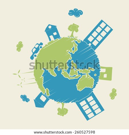 View of urban city on creative globe for Earth Day celebration. - stock vector