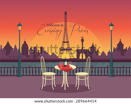 View of vector evening paris from the cafe - stock vector