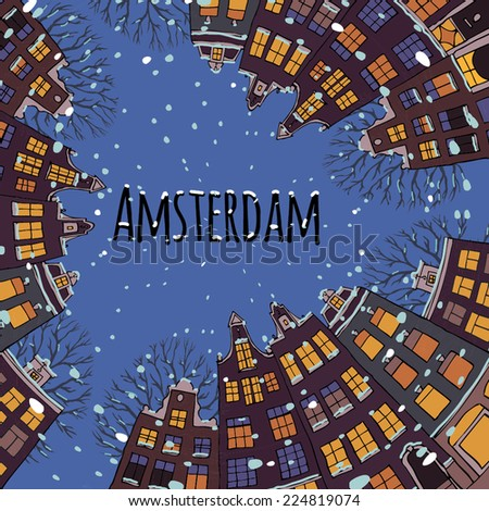 View of winter Amsterdam. Vintage Christmas card. Vector illustration.  - stock vector