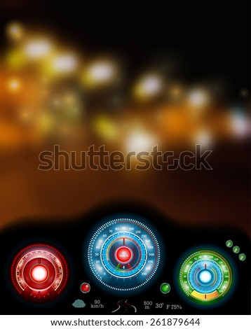 view on blur night town road from cab with speedometer and sensors - stock vector
