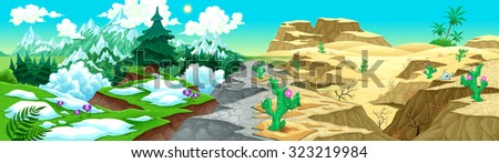 View on mountains and desert. Vector cartoon illustration. On the vector file, you can extract the isolated landscapes: mountains, or desert, because they have been projected to be also separated. - stock vector