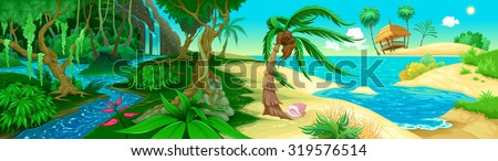 View on the jungle and sea. Vector illustration - stock vector