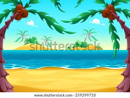 View on the seashore. Cartoon vector illustration - stock vector