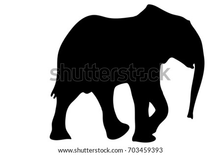 view on the silhouette of an african elephant digitally hand drawn vector illustration