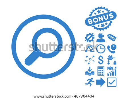 View pictograph with bonus design elements. Vector illustration style is flat iconic symbols, cobalt color, white background.