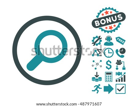 View pictograph with bonus icon set. Vector illustration style is flat iconic bicolor symbols, soft blue colors, white background.