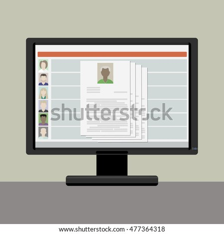 View resume on a computer monitor , the choice on the internet employee, old man, african, american