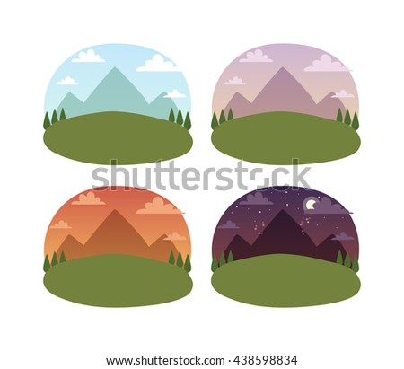 View travel landscape looking into distance standing on top of mountain. Background travel landscape mountains, valley and travel landscape cloudy sky. Beautiful view outdoor vacation. Day and night - stock vector