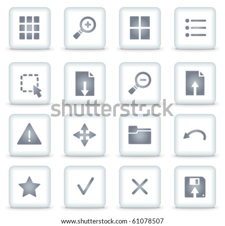 Viewer vector web icons, white square buttons