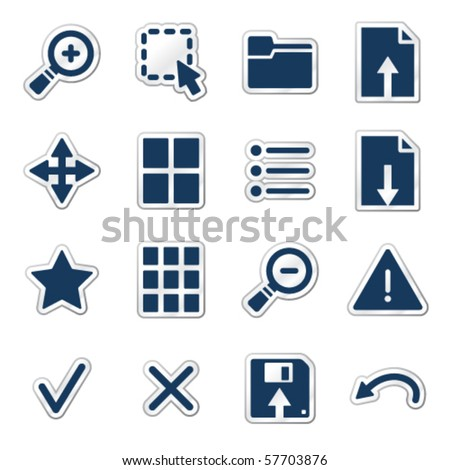 Viewer web icons, navy sticker series - stock vector
