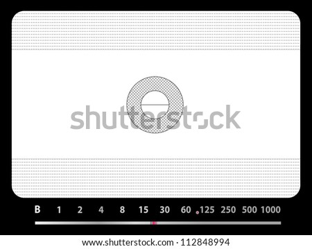 viewfinder of a a panorama camera with marks for panorama format - stock vector