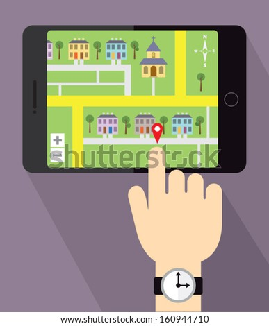 Viewing a map on your tablet device - stock vector