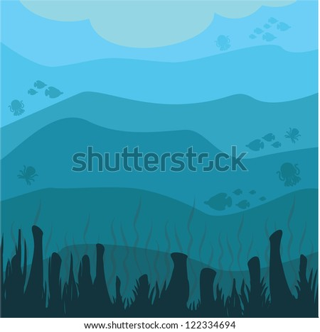 views of the Coral Sea - stock vector