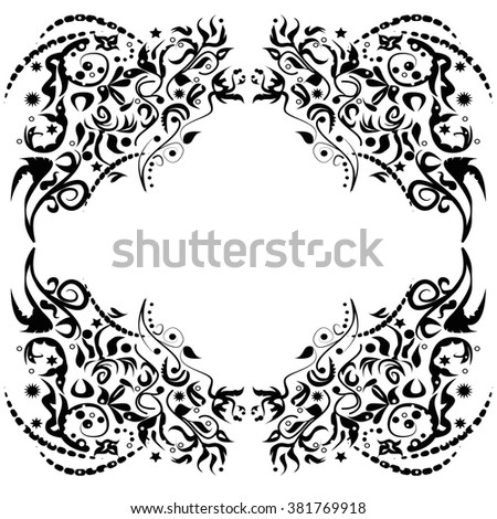 Vignette and decorative branched background - stock vector