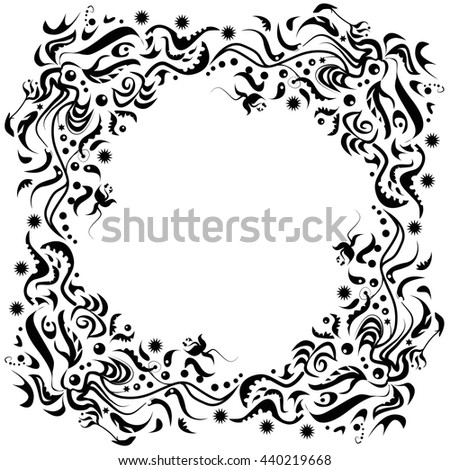 Vignette as a circle made of leaves - stock vector