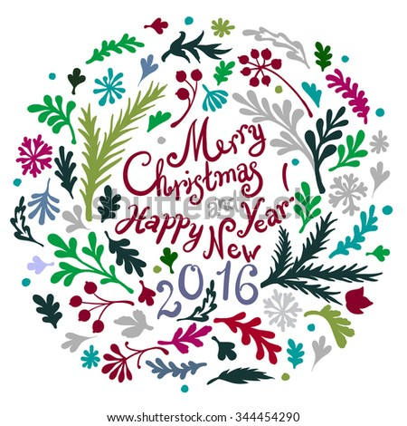 Vignette of vignette of branches and Christmas tree branches, includes text Merry Christmas and Happy New Year 2016 - stock vector