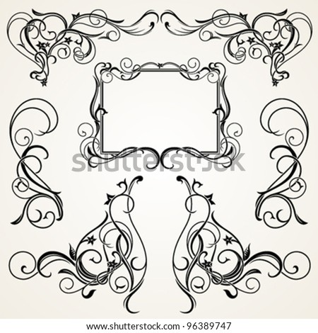 Vignettes, Corners and Frame in Floral Ornament - stock vector
